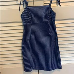 Pinstripe dress with tie straps from Pacsun